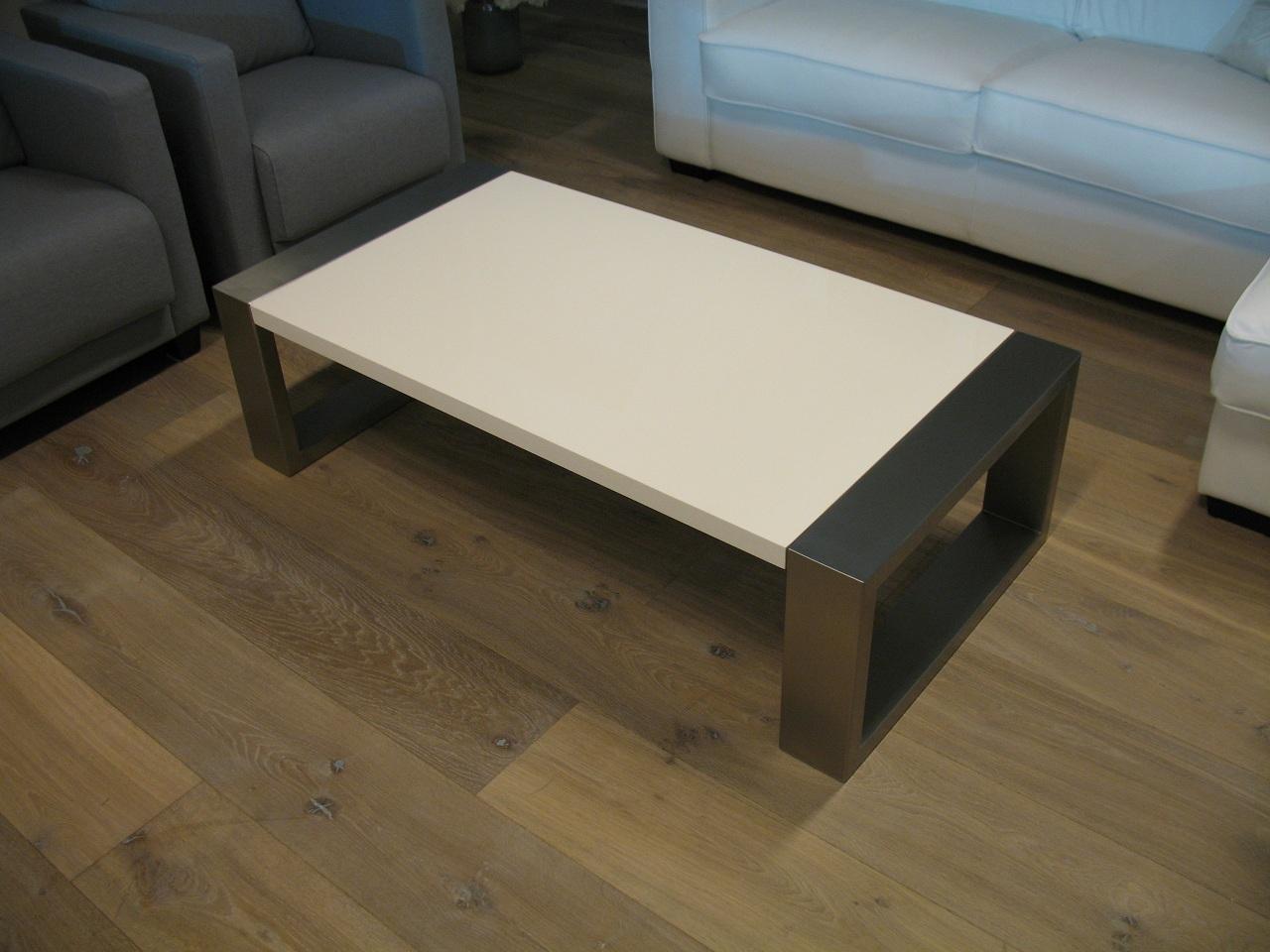 Salon Tafel Wit : Demaakfabriek roestvrijstalen salontafel in hoogglans wit