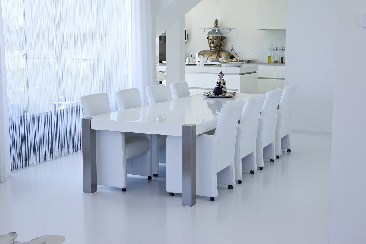 Eetkamer Wit Hoogglans : Hoogglans eettafel wit loungeset 2017